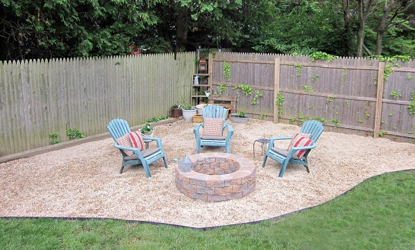 Corner of yard with chairs and fire pit
