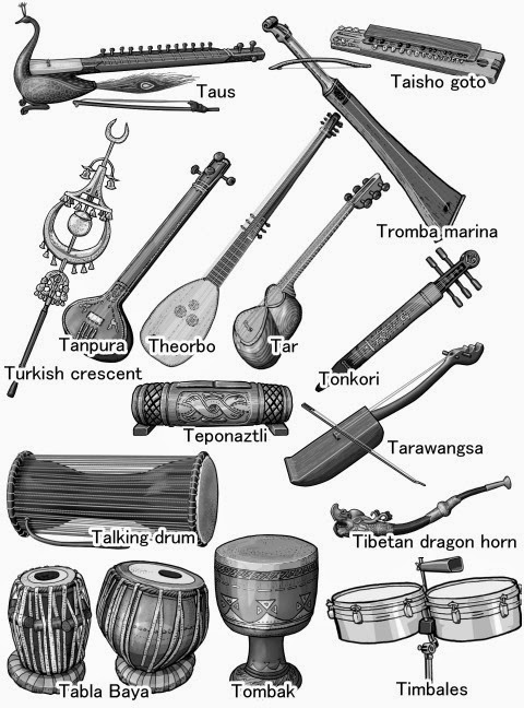 Tabla Baya/Talking drum/Tanpura/Tar/Tarawangsa/Taus/Teponaztli/Theorbo/Tibetan dragon horn/Timbales/Tombak/Tonkori/Tromba marina/Turkish crescent