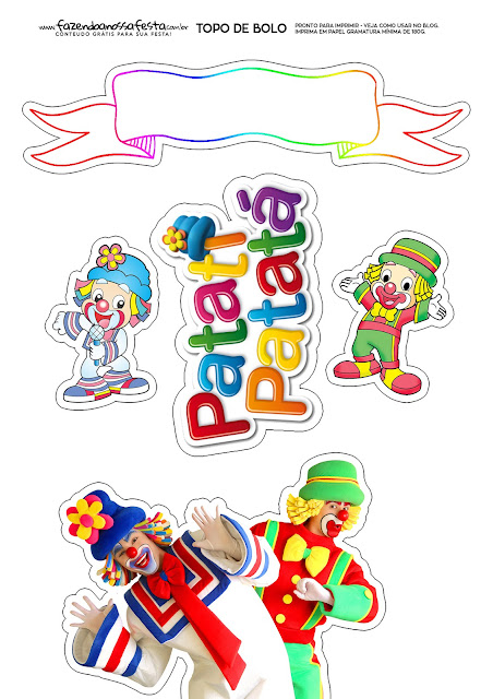 Clowns: Free Printable Cake Toppers.