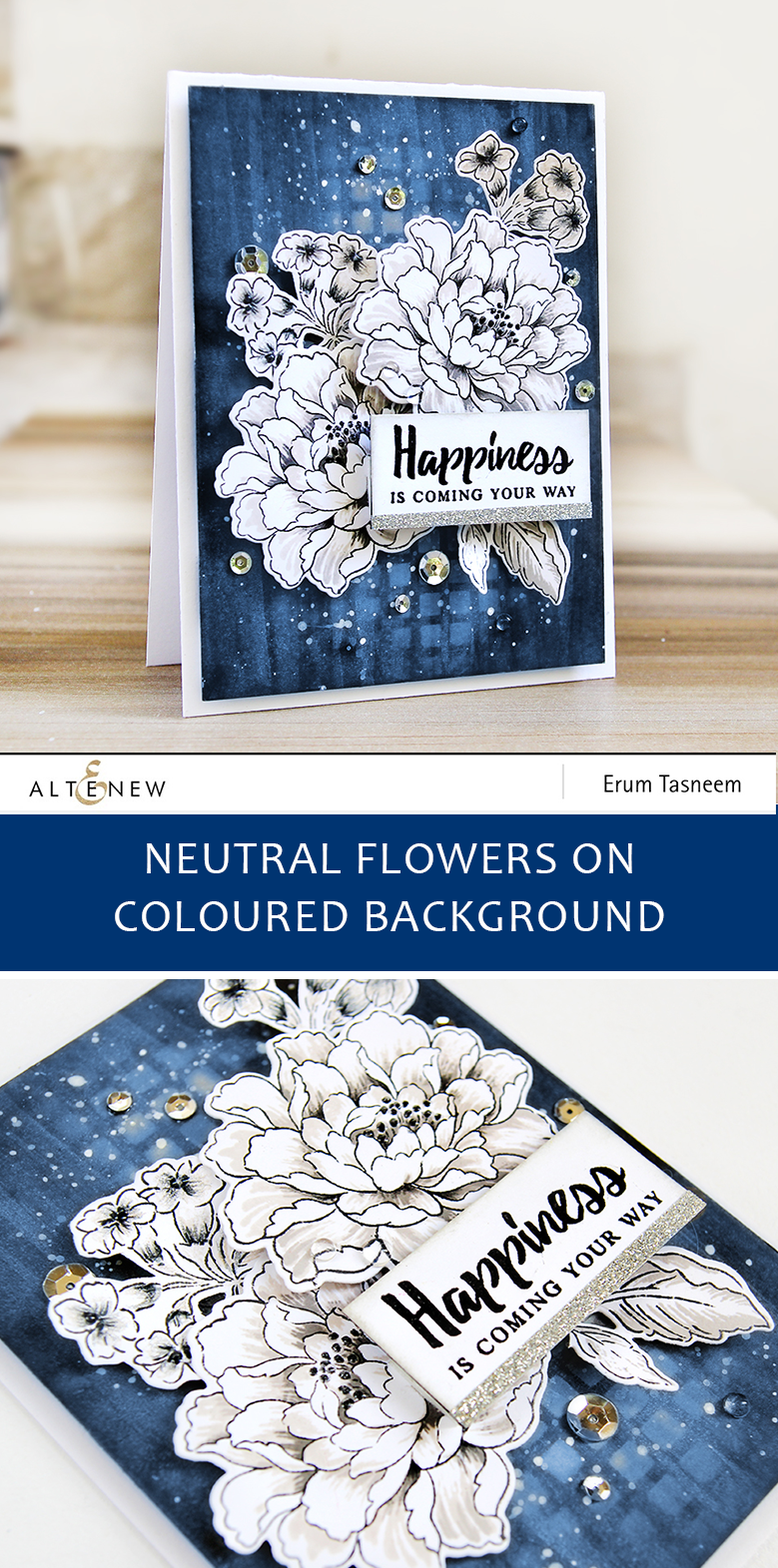 Altenew Build-A-Flower Coral Charm | Neutral flowers on coloured background | Erum Tasneem | @pr0digy0