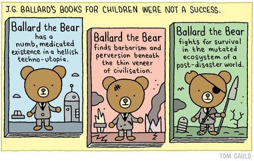 Meme sobre novelas ficticias infantiles de J. G. Ballard