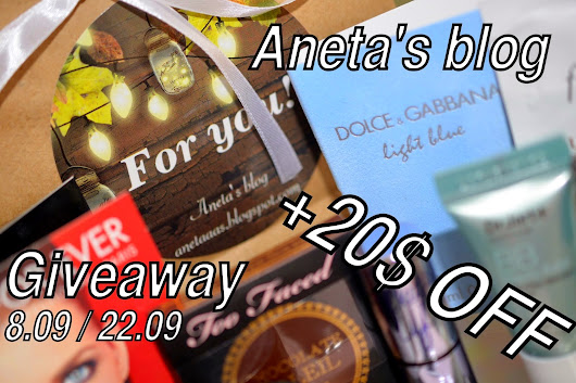 Giveaway by Aneta's blog 8.09/22.09. Beauty bag + 20$ OFF