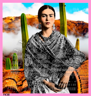 mexico background frida kahlo fabric block