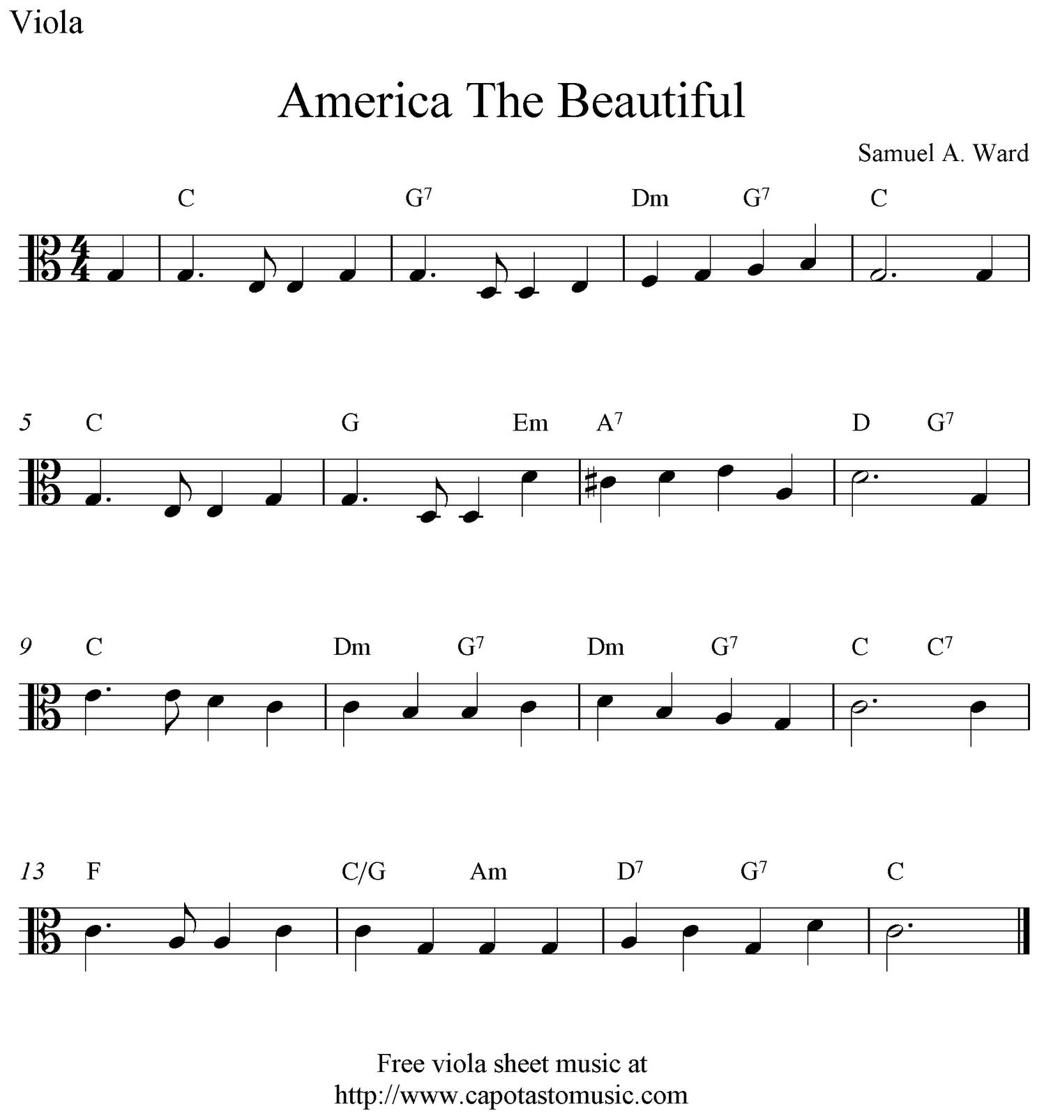 Free viola sheet music, America The Beautiful