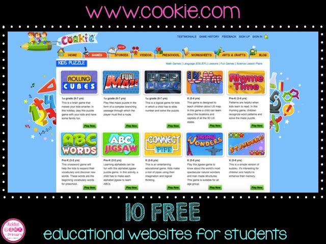 FREE Educational Websites for Students - Cookie Education Site