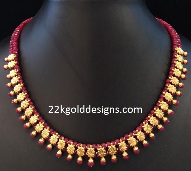 Ruby Beads Gold Necklace