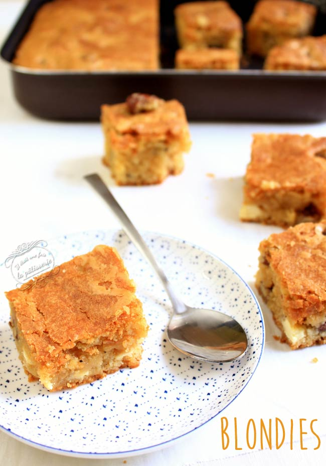 recette blondies chocolat blanc
