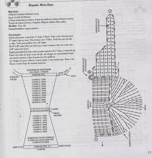 Biquíne/sutiã Meia-taça e calcinha de crochê, com gráfico e receita