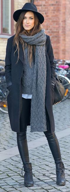 dark fall trends / hat + coat + sweater + bag + leggings + boots + knit scarf
