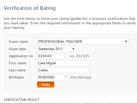Verification of Rating