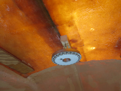 lighting in a partially finished fiberglass trailer