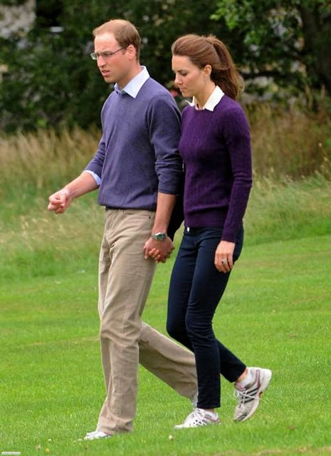 All About Kate: Kate Middleton Goes Casual in Purple Cashmere and ...