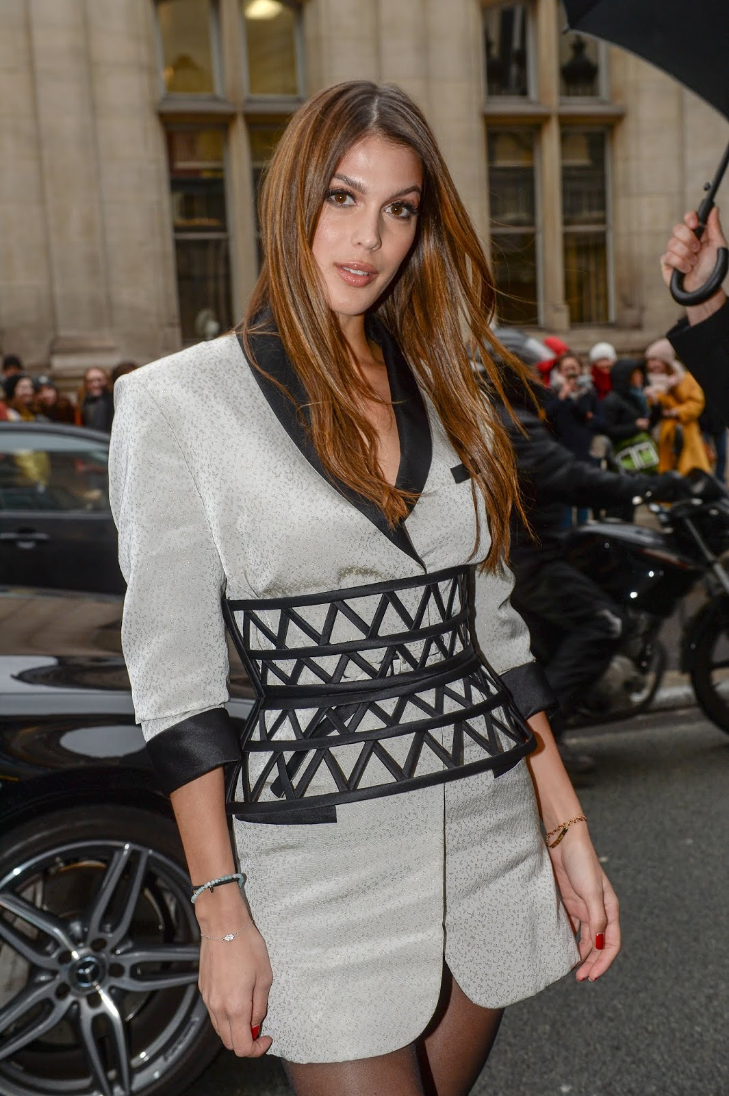 Iris Mittenaere attending the Jean-Paul Gaultier Haute Couture Spring-Summer 2019 show as part of Paris Fashion Week in Paris, 01/23/2019