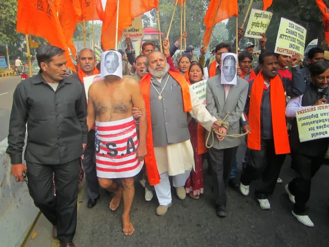 Protest against the Alleged Mistreatment of Indian Diplomat