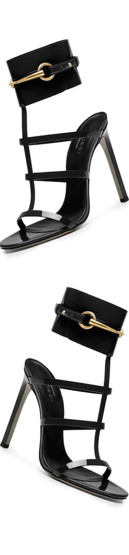Gucci ursala Patent ankle wrap cage sandal
