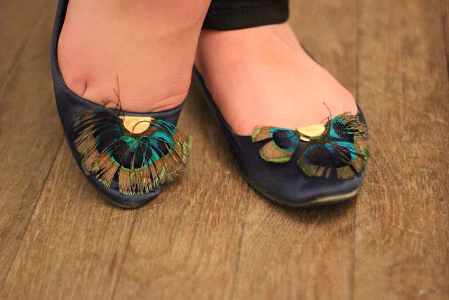 Satin Peacock Feather Flats