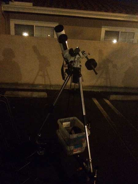 Finally wheeled out the tripod setup with scope and mount already assembled (Source: Palmia Observatory)