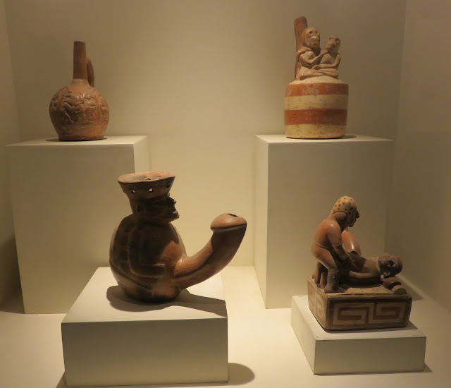 Erotic pottery from pre-Colombian civilizations at the Larca Museum in Lima Peru