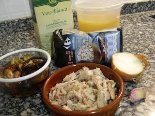 Ingredientes para arroz con pollo y shiitake