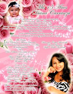 Tarjeta de Invitación para 15 Años novedosa en color rosa con rosas y destellos de luz