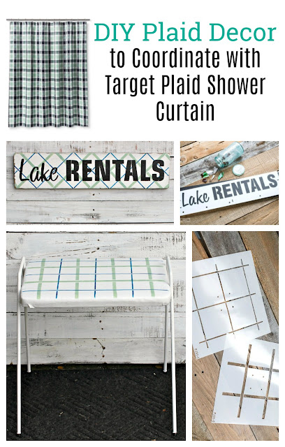 DIY Decor To Coordinate with a Target Plaid Shower Curtain #stencil #oldsignstencils #plaid #plaidshirt