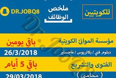 ملخص التوظيف الحكومي الكويتي للكوتيين ينتهي التقديم خلال 5ايام