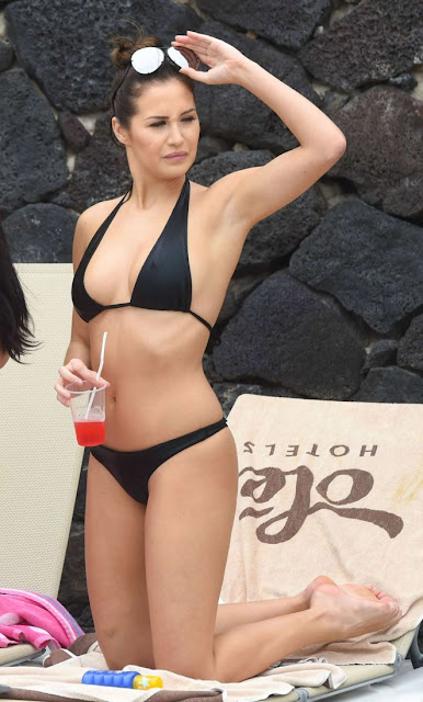Chloe Goodman in a black bikini in Lanzarote