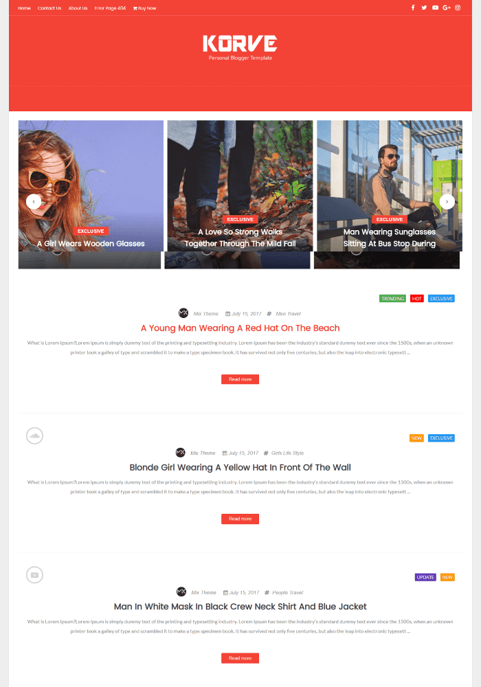 Korve Best Free AMP Blogger Templates