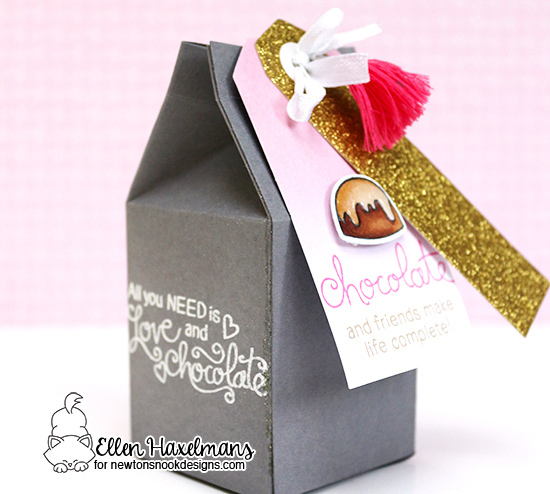 Chocolate Treat Box and Tag by Ellen Haxelmans | Love & Chocolate stamp set by Newton's Nook Designs #newtonsnook