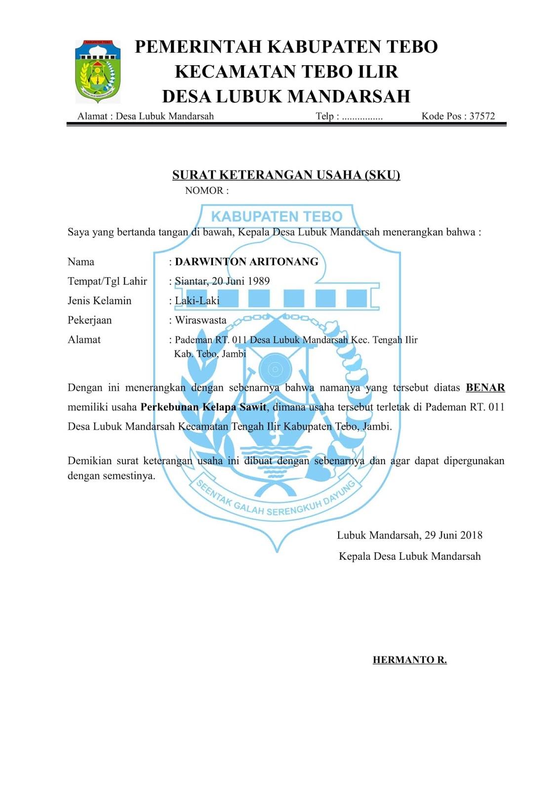 Contoh Surat Orton Download Contoh Surat Keterangan Usaha