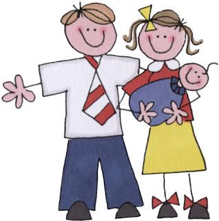 Caricaturas de la Familia de Esperando un Bebé.