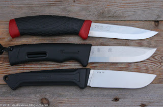 Mora Allround, Hx Outdoors Bushcraft and Sanrenmu S708