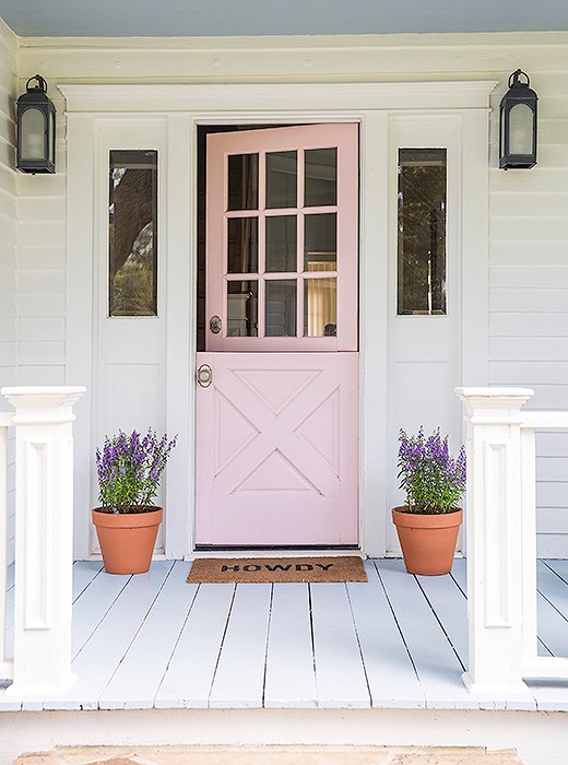 Pink front door, dutch door, front door