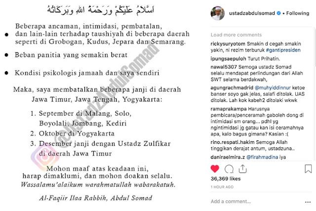 Diancam Ormas, Ustaz Somad Batal Ceramah di Jatim, Jateng dan Jogja hingga Desember
