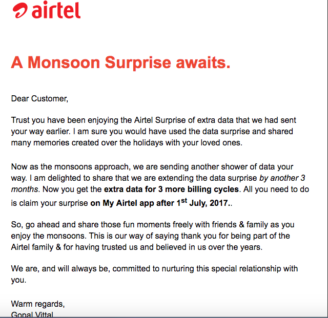 Airtel extends Monsoon Surprise for 3 More months - TECHPHLIE