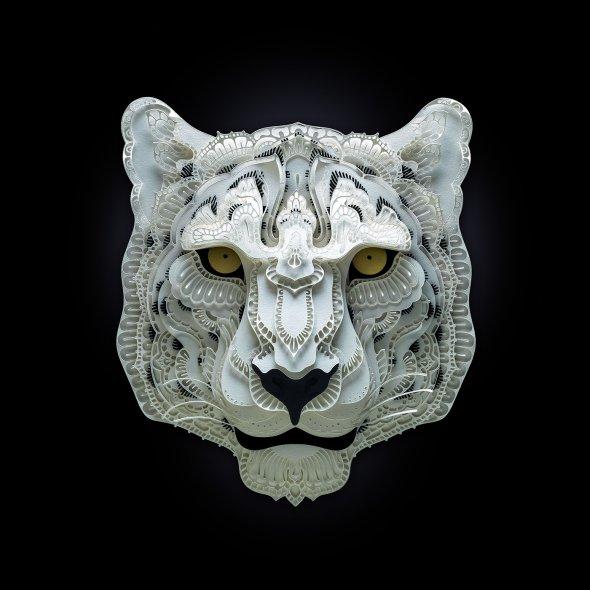 Patrick Cabral behance arte animais papel cortado espécies ameaçadas extinção wwf Leopardo-das-neves