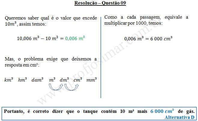 Questão 09 - Sistema de medidas usuais