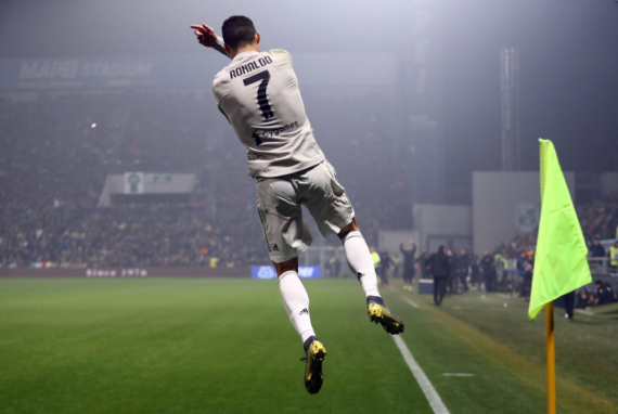 Cristiano Ronaldo celebrating a goal for Juventus