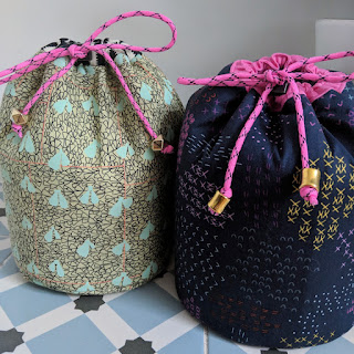 Jetset cinched bag - Sew Sweetness pattern, drawstring bags