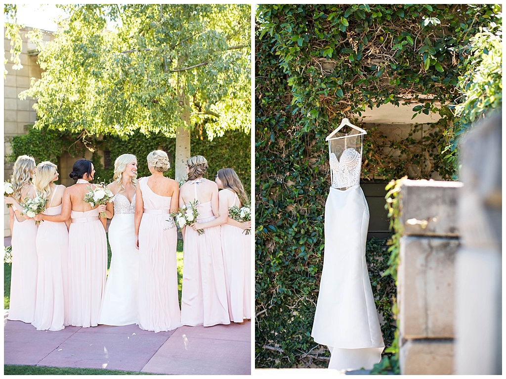 bride with bridesmaids in blush pink dresses with white bouquets and two piece wedding dress