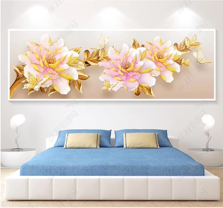 Tranh bộ treo tường hoa mẫu đơn  phòng ngủ đẹp