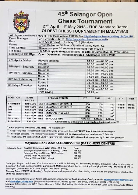 45th Selangor Chess Open 2018