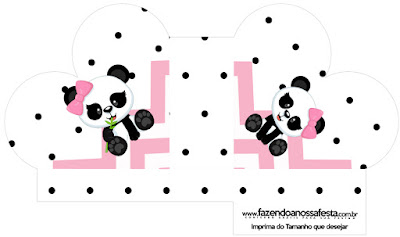 Panda Baby in Pink Chevron: Free Printable Boxes.