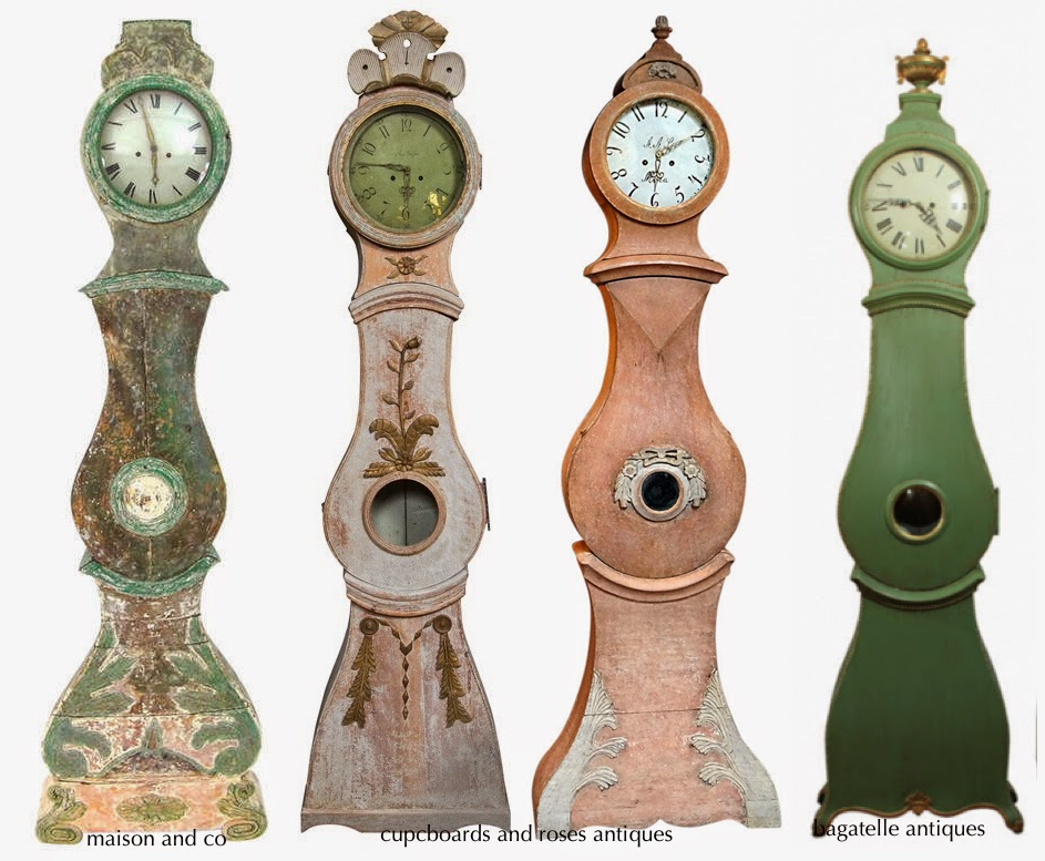 Antique Swedish Mora Clocks in Pink and Green