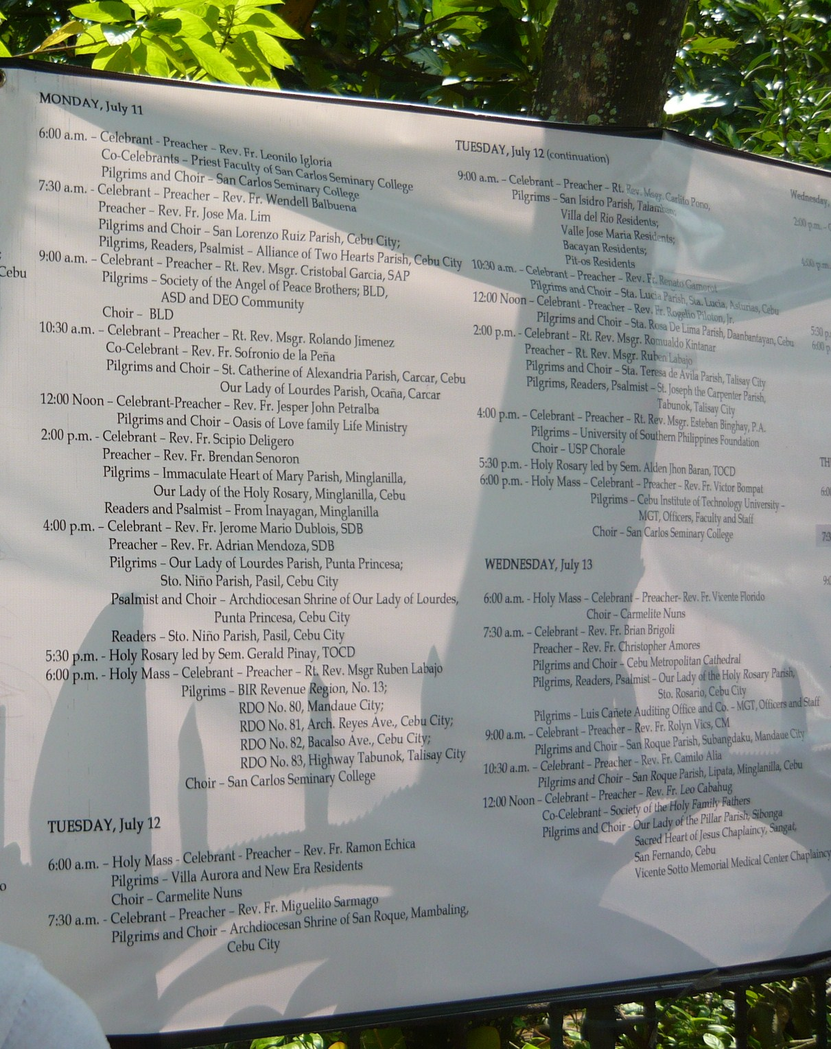 Schedule of Masses and Pilgrimages at Carmelite Monastery