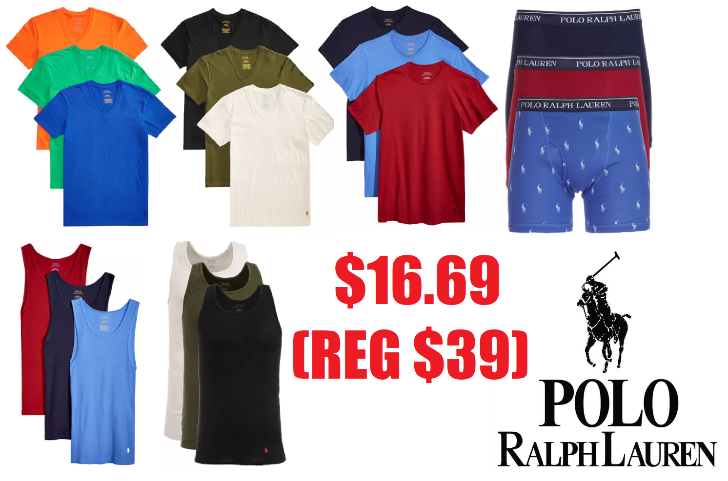 5e264a568 3 Pack Polo Ralph Lauren Men's Boxers, Classic Crew Neck T-Shirts, Tank  Tops or V-Neck T-Shirts $16.69 (Reg $39.50) + Free Pickup at Macy's