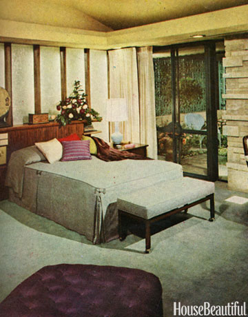 This 60s style bedroom with a view is simple.
