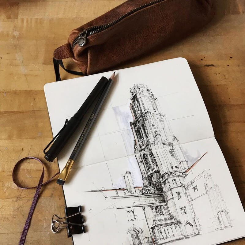 08-Fast-sketch-on-site-Jerome-Tryon-Travel-Architectural-Urban-Sketches-www-designstack-co