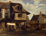 Market-Place in Normandy by Theodore Rousseau - Genre Paintings from Hermitage Museum