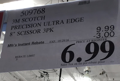 Deal for a 3 pack of 3M Scotch Precision Ultra Edge Scissors Costco